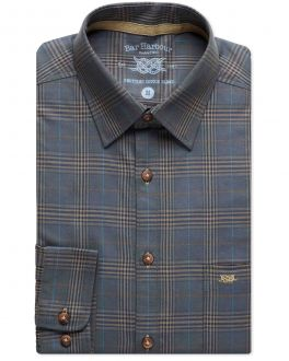 Navy Brown Check Recycled Cotton Casual Shirt