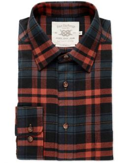 Rust and Navy Check Brushed Cotton Casual Shirt