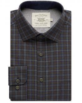 Navy, Brown and Grey Check Casual Shirt