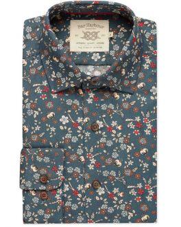 Teal Autumn Print Casual Shirt