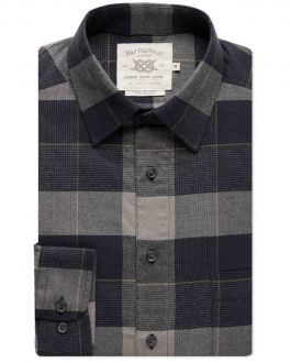 Grey and Black Check Brushed Cotton Casual Shirt