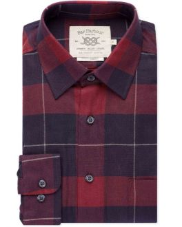 Red and Navy Check Brushed Cotton Casual Shirt
