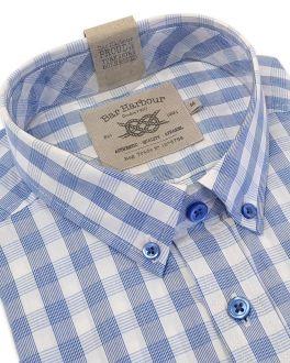 Blue Square Check Short Sleeve Casual Shirt
