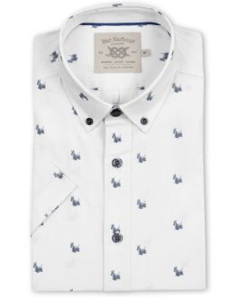 Grey Scottie Dog Print Short Sleeve Casual Shirt
