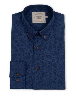Navy Paisley and Floral Print Long Sleeve Casual Shirt