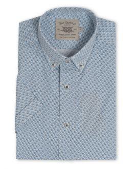 Blue Swirl Print Short Sleeve Casual Shirt