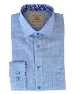 Blue and Floral Trim Textured Slub Weave Long Sleeve Casual Shirt