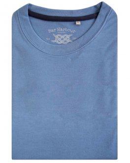 Men's Powder Blue Ribbed Neck T-Shirt