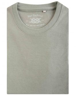 Army Green Ribbed Neck T-Shirt