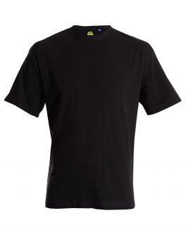 Bar Harbour Plain Black Ribbed Neck T-Shirt Front