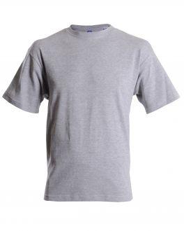 Plain Grey Ribbed Neck T-Shirt