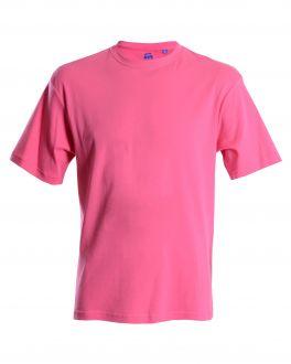 Men's Bar Harbour Plain Pink Ribbed Neck T-Shirt Front