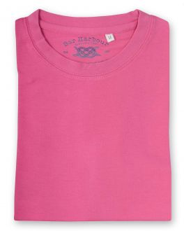 Plain Shrimp Ribbed Neck T-Shirt