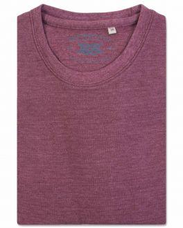 Bar Harbour Plain Mulberry Marl Ribbed Neck T-Shirt Flat