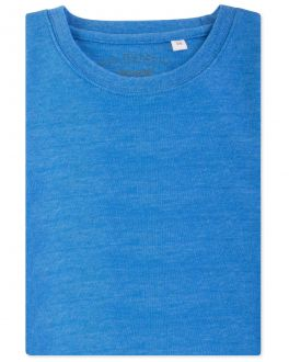Blue Marl Ribbed Neck T-Shirt