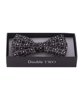 Black Flower Patterned Boxed Bow Tie