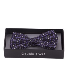 Lilac Flower Patterned Boxed Bow Tie