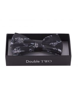 Grey Flower Patterned Boxed Bow Tie