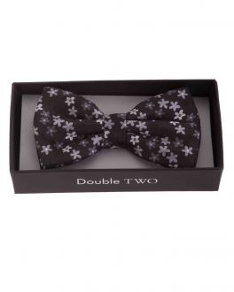 Grey Floral Patterned Boxed Bow Tie