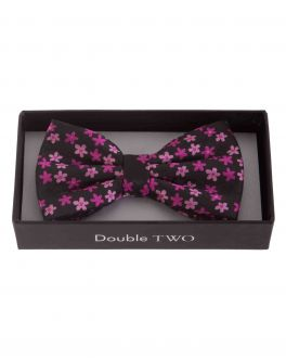Pink Floral Patterned Boxed Bow Tie