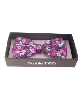 Double TWO Pink Floral Bow Tie
