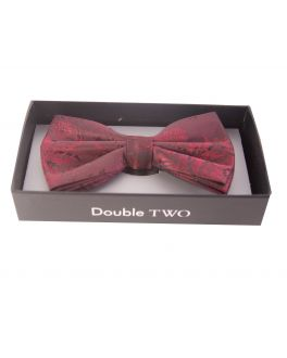 Double TWO Red Floral Bow Tie