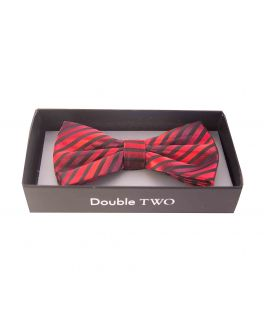 Double TWO Red Stripe Bow Tie