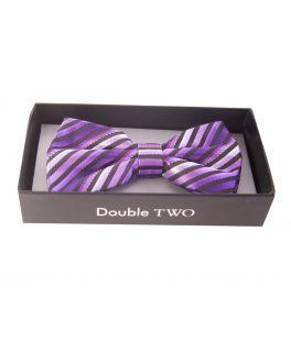 Double TWO Purple Stripe Bow Tie