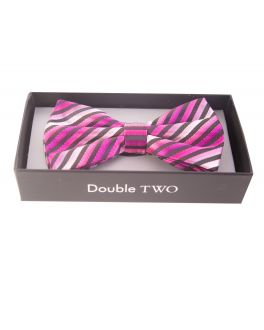 Double TWO Pink Stripe Bow Tie
