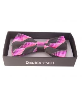 Double TWO Pink Multi Stripe Bow Tie