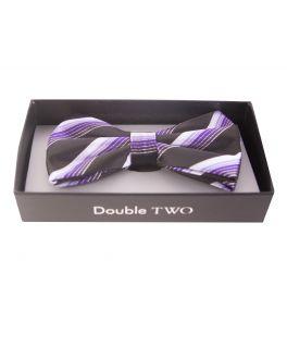 Double TWO Purple Multi Stripe Bow Tie