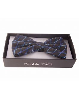 Double TWO Blue Criss-Cross Patterned Bow Tie
