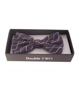 Double TWO Purple Criss-Cross Patterned Bow Tie