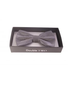 Double TWO Black and White Striped Bow Tie