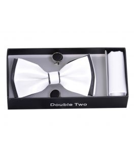 White and Black Bow Tie, Handkerchief and Cufflink Gift Set