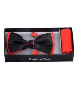 Red and Black Bow Tie, Handkerchief and Cufflink Gift Set