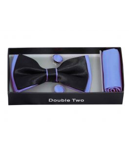 Blue and Black Bow Tie, Handkerchief and Cufflink Gift Set