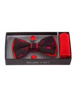 Red Floral Bow Tie, Handkerchief & Cufflink Gift Set