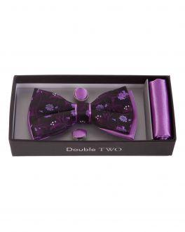 Purple Floral Bow Tie, Handkerchief and Cufflink Gift Set