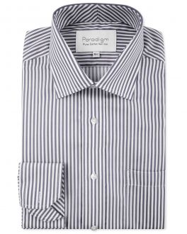 Charcoal Stripe Luxury Pure Cotton Non-Iron Shirt
