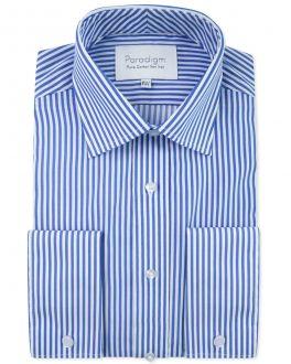 Blue Stripe Double Cuff Luxury Pure Cotton Non-Iron Shirt