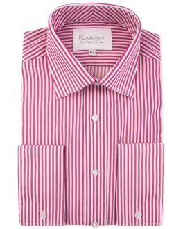 Cherry Red Stripe Double Cuff Luxury Pure Cotton Non-Iron Shirt