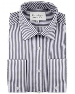 Charcoal Stripe Double Cuff Luxury Pure Cotton Non-Iron Shirt