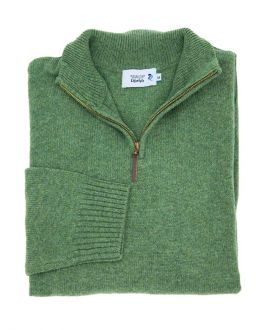 Men's Green Quarter Zip Knitted Jumper
