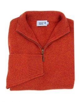 Maple Red Long Sleeve Quarter Zip-Neck Wool Jumper