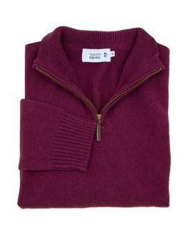 Morello Red Long Sleeve Quarter Zip-Neck Wool Jumper