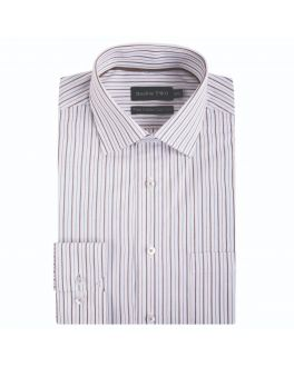 White and Coffee Pin Stripe Formal Shirt