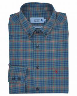 Eucalyptus Green Check Long Sleeve Casual Oxford Shirt