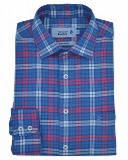 Washed Blue Check Long Sleeve Casual Shirt