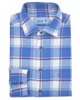 Denim Blue Check Long Sleeve Casual Shirt
